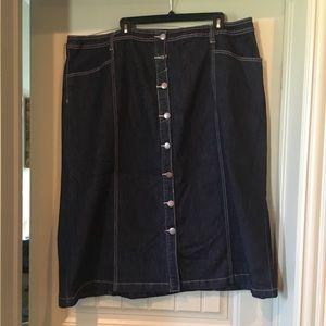 Avenue dark denim Button front skirt